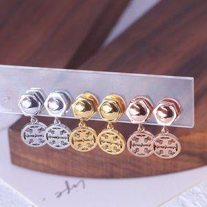 Tory Burch Geometric Hexagonal Disc Logo Earrings